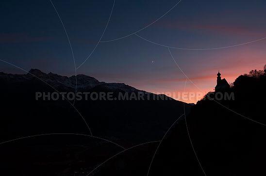 Abendrot über St. Peter bei Tanas
