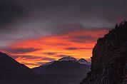 Erleuchteter Himmel im mittleren Vinschgau