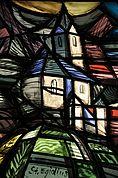 St. Ägidius im Fenster der Pfarrkirche Kortsch